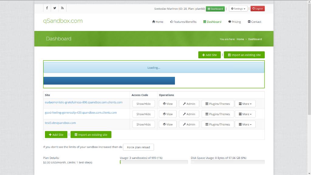Free test/staging/sandbox WordPress site  Set up in seconds